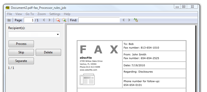 Menu of Fax Router facsimile distribution software
