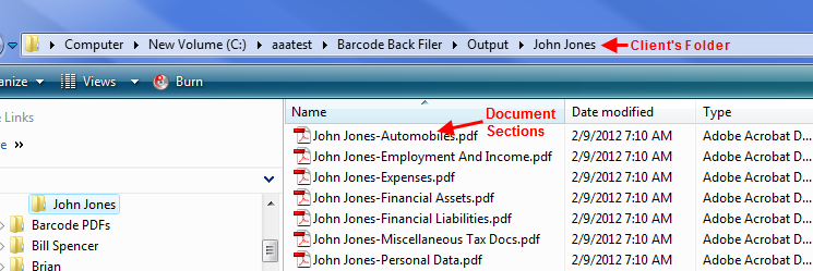 File Structure of scanned tax files